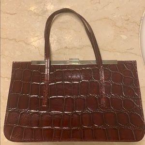 FURLA red crocodile leather handbag
